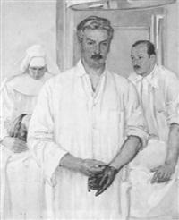 prof. burkhard breitner, chef der chirurgie in innsbruck mit seinem assistenten dr. hohe by albert janesch