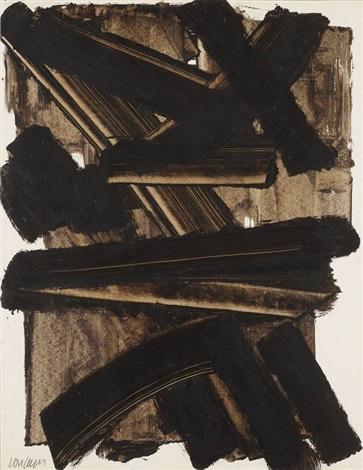 brou de noix sur papier 65 x 50 cm 1954 14 by pierre soulages