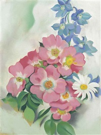 pink roses and larkspur by georgia o'keeffe