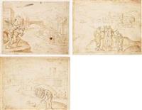 pharaoh ordering every hebrew boy to be thrown into the nile by bernard (le petit bernard) salomon