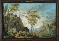 acquerello di londonio, paesaggio campestre con casolari, fiume, ponticello by francesco londonio