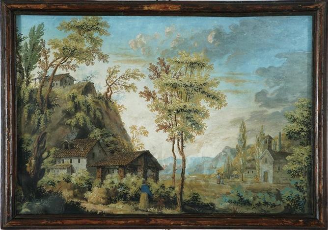 acquerello di londonio paesaggio campestre con casolari fiume ponticello by francesco londonio