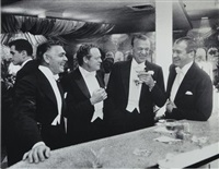 kings of hollywood, clark gable, van heflin, gary cooper, james stewart, enjoy a joke at a new york party at romanoff's, los angeles by slim aarons