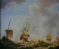 zwei dreimaster und ein fischerboot auf bewegter see. by jacob gerritz loef