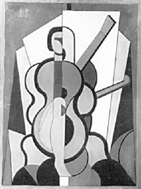 cubist nude with guitar by jaime antonio colson