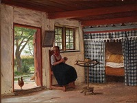 interior from a peasant's cottage with a young girl at the wool winder, in the vicinity of hedebo by johann julius exner