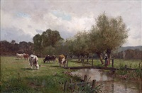 cows and herdess in pasture by james macdonald barnsley