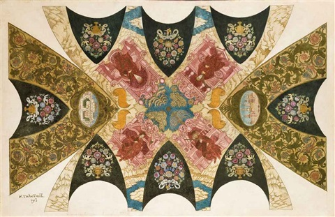 an original design for a ceiling mural for the state bank in nizhny novgorod by ivan yakovlevich bilibin