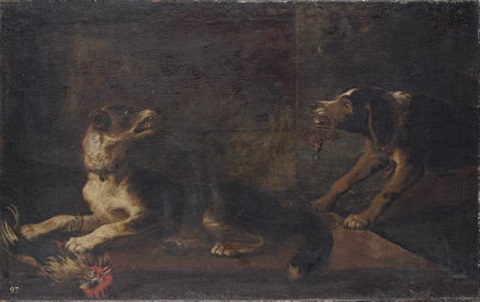 hounds fighting over a wounded cockerel by carl borromaus andreas ruthart