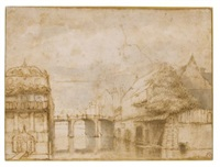 town view with a bridge by abraham furnerius