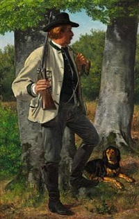 a hunter with his dog by jörgen roed