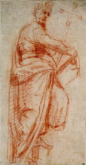 a saint holding a cross and a book by michelangelo anselmi
