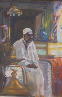 personnage assis dans un souk by louis fortuney