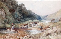 crossing the ford (+ harvest time; pair) by william collingwood smith