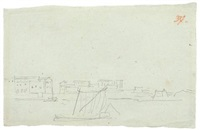 küstenstadt mit schiffen / der leuchtturm von messina (2 works) by karl friedrich schinkel