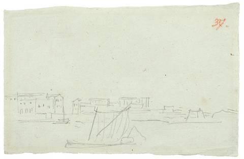 küstenstadt mit schiffen der leuchtturm von messina 2 works by karl friedrich schinkel