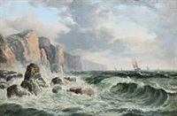 breakers at a rocky coast by john mundell