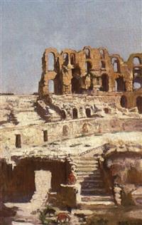 jeune garçon dans l'amphithéâtre d'el djem, tunisie by adolphe ernest gumery