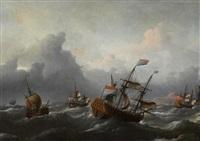 holländische handelsschiffe vor der englischen küste by aernout (johann arnold) smit