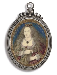 frances, countess of hertford holding her long wavy light brown hair in her hands by nicholas hilliard