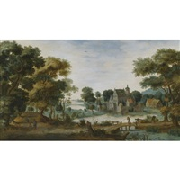 a wooded river landscape, with tobias and the angel to the left and a man crossing a bridge to the right by gillis claesz de hondecoeter