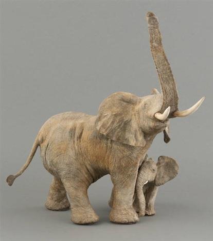edenzork et minkebe éléphante et éléphanteau by françois van den berghe