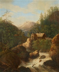 a mountainous landscape with a mill by johann jakob dorner the younger