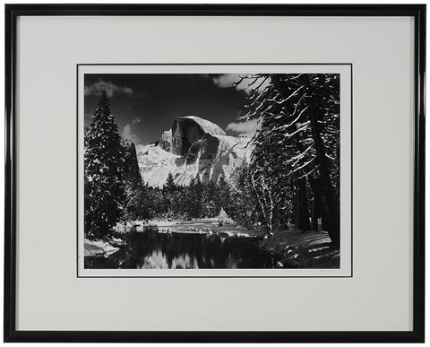half dome merced river winter yosemite national park by ansel adams