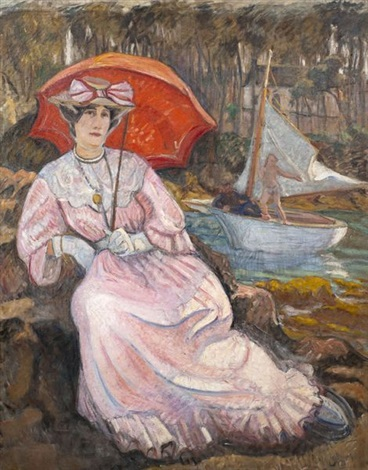 jeune femme à l'ombrelle by jean puy