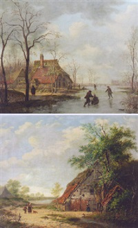 a summer landscape with peasants by a farm by gerrit hendrik gobell
