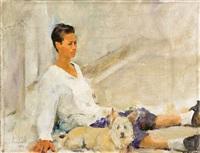 girl and dog by amnon david ar