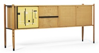 a sideboard (+ shelf unit w/woven sliding doors; 2 works) by roberto aloi