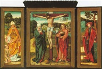the crucifixion with the virgin mary and john the evangelist by german school-cologne (16)