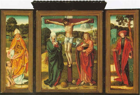 the crucifixion with the virgin mary and john the evangelist by german school cologne 16