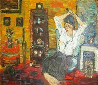 woman in interior (artist's wife) by yitzhak frenkel-frenel