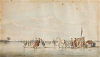 scène de patinage sur canal gelé by ary van wanum
