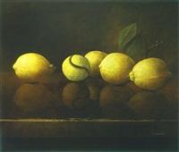 lemons and tennis ball by moni leibovitch
