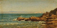 rochers et mer bleue de douarnenez, bretagne by auguste paul charles anastasi