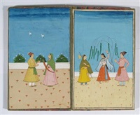 indian life (manuscript album w/14 works) by ali hussain