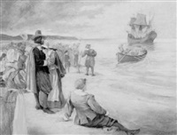 pilgrims waving goodbye to men in launch by frank thayer merrill