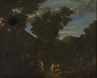 antikisierende landschaft mit nymphen, pan und erotischer szene by cornelis huysmans
