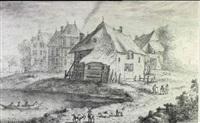 a village scene by albert flamen