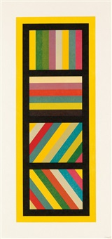 bands of lines in four directions (vertical), plate 3 by sol lewitt
