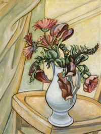 a still life with flowers in a white jug by eugene labuschagne