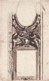 etude de plafond à décor de stucs avec deux figures ailées tenant une couronne by pietro da cortona