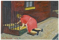 woman cleaning the steps by alan lowndes
