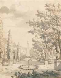 allee eines palastgartens mit brunnen, statuen und einem obelisk by josua de grave