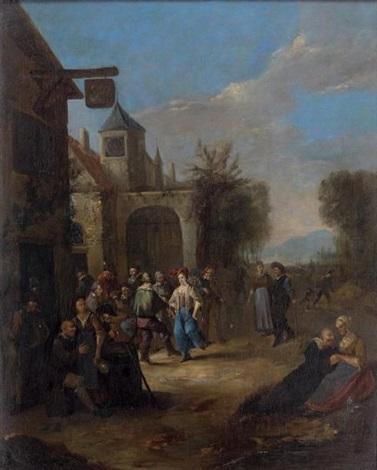 réjouissances paysannes à lextérieur de lauberge by egbert van heemskerck the elder