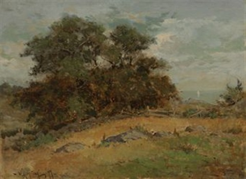 maine landscape with trees by willard leroy metcalf