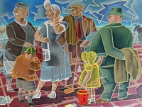 family group by the seaside by norman clark